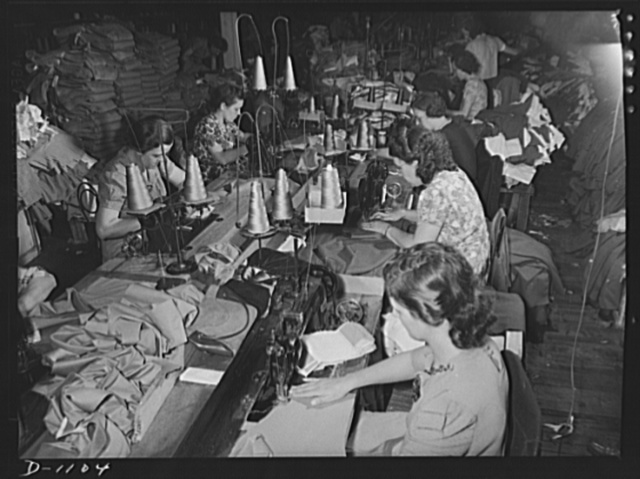 Army uniform trouser manufacture. Kane Manufacturing Company, Louisville, Kentucky. 1300 trousers a day for National Defense. Sewing operations on some of these may trousers. Especially strong thread is specified in the rigid requirements issued by the Quartermaster Corps to stand the rough wear these uniforms will get in the field