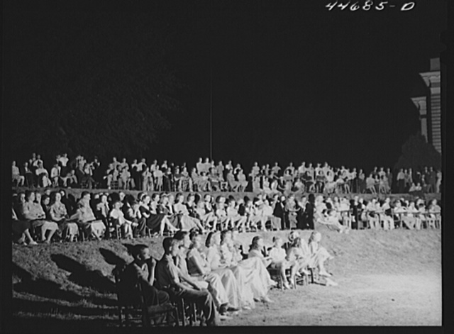 Audience at the outdoor graduation of the Union Point high school. Union Point, Greene County, Georgia