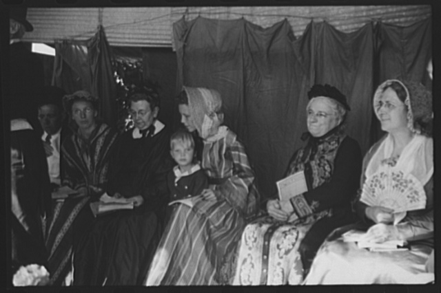 "Ballad singers resting at the ""World's Fair"" in Tunbridge, Vermont"