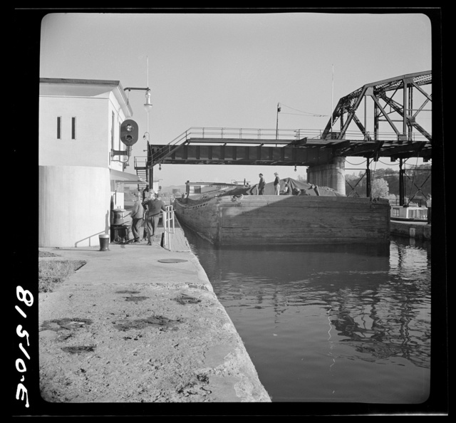 Barge in Lock Eleven. Erie Canal, near Amsterdam, New York
