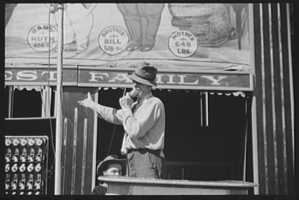 Barker at a sideshow at the Rutland Fair, Rutland, Vermont