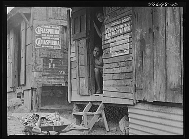 """Barranquitas, Puerto Rico. In slum area. """"Caliaspirina"""" is a patent medicine for """"what ails you"""""""