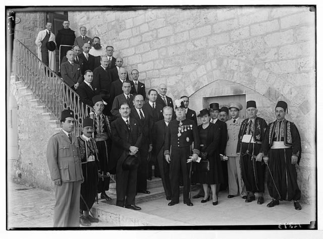 Belgian Consul Gen. & other consuls on St. Sauver on Belgian king's birthday