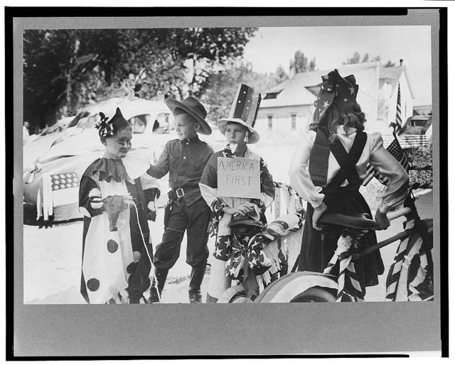 Bicycle riders in parade on the Fourth of July at Vale, Oregon