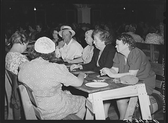 """Bingo"" affords amuseument for the guests at Sarasota trailer park. Sarasota, Florida"