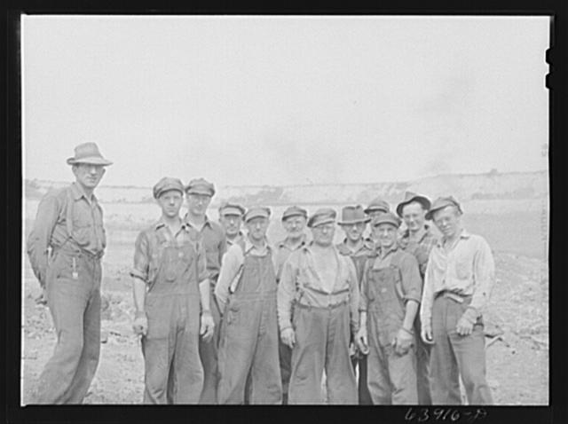 Blasting crew and foreman. Albany Mine near Bovey, Minnesota