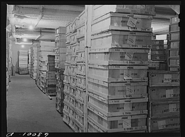 Boxed poultry in storage at twenty-four degrees below zero. Fulton Market cold storage plant, Chicago, Illinois