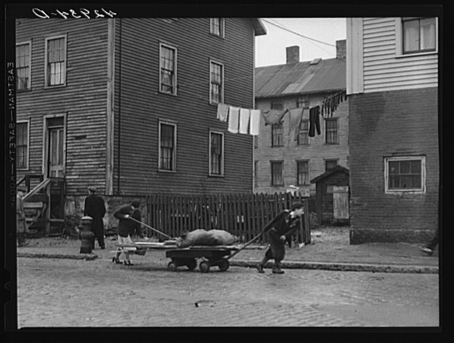 Bringing home some salvaged firewood in slum area in New Bedford, Massachusetts