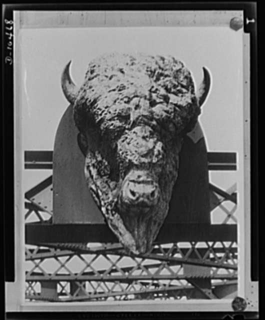 Buffalo head. Symbols of a glorious past join the scrap for freedom. This giant buffalo head is being disposed of as scrap to aid the war effort. The Union Pacific Railroad has notified the Industrial Salvage Section of the War Production (WPB) Board Bureau of Industrial Conservation. It was erected on the road's Missouri River Bridge in 1888 to symbolize the wildness of the Western plains. The weight of the copper bronze buffalo head is estimated to be 2400 pounds, not including 1000 pounds of steel in the framework. It is seven feet six inches high, six feet wide and four feet nine inches thick