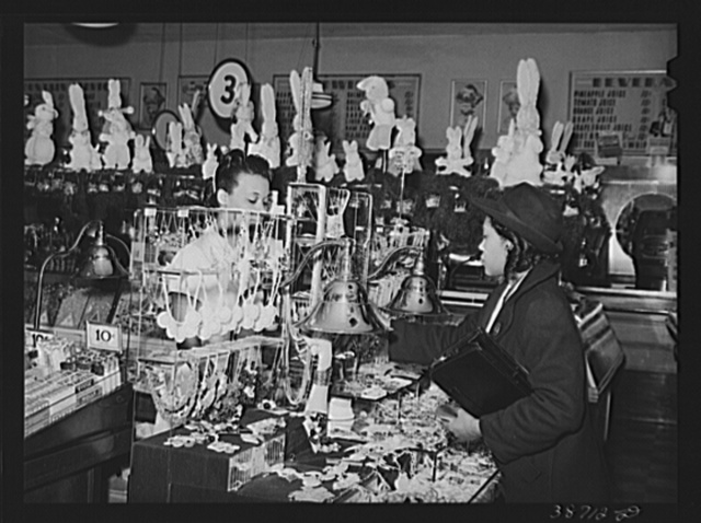 Buying jewelry in ten-cent store which caters to Negroes. Chicago, Illinois