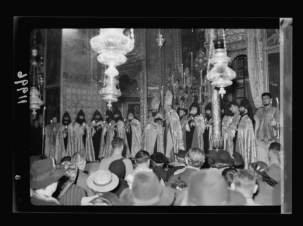 Calendar of religious ceremonies in Jer. [i.e., Jerusalem] Easter period, 1941. Armenian foot washing in Church of St. James