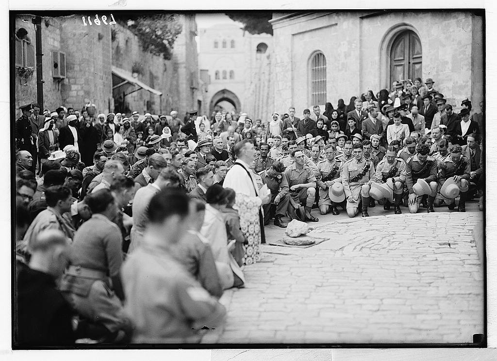 Calendar of religious ceremonies in Jer. [i.e., Jerusalem] Easter period, 1941. Good Friday procession on Via Dolorosa. At the 3rd Station