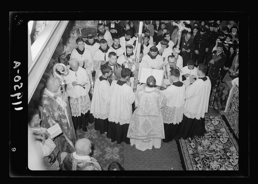 Calendar of religious ceremonies in Jer. [i.e., Jerusalem] Easter period, 1941. Holy Saturday. Chanting of Praeconium