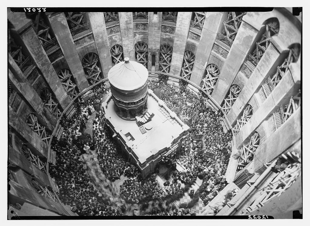 Calendar of religious ceremonies in Jer. [i.e., Jerusalem] Easter period, 1941. Holy fire ceremony seen from the dome