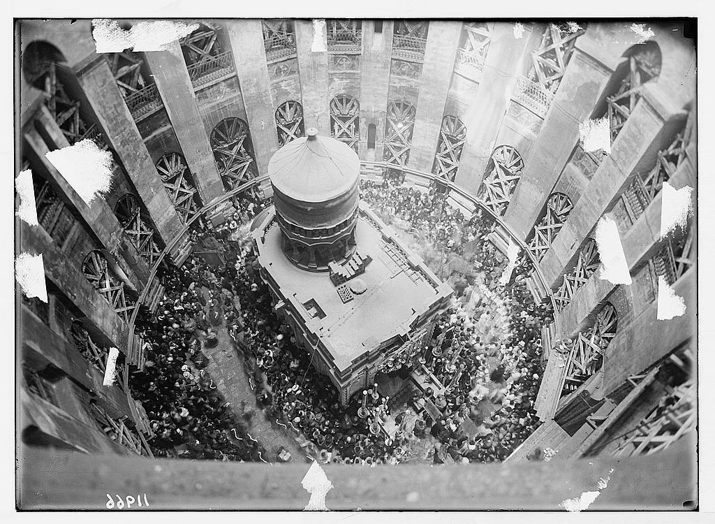 Calendar of religious ceremonies in Jer. [i.e., Jerusalem] Easter period, 1941. Looking down from dome on to processions going round the Edicule [Church of the Holy Sepulchre]