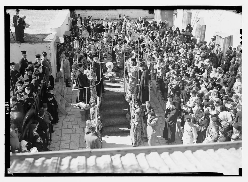 Calendar of religious ceremonies in Jer. [i.e., Jerusalem] Easter period, 1941. Orthodox foot washing, roof of Mar Jacoob, Ap. 17, [19]41