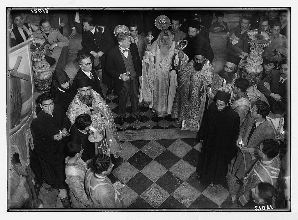 Calendar of religious ceremonies in Jer. [i.e., Jerusalem] Easter period, 1941. Orthodox Holy Fire. Syrian Orthodox procession led by Archbishop Jacob Filixinos