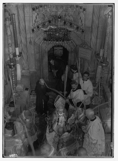 Calendar of religious ceremonies in Jer. [i.e., Jerusalem] Easter period, 1941. Palm Sunday procession. Blessing palms. Bringing them out fr[om] Tomb [Church of the Holy Sepulchre]