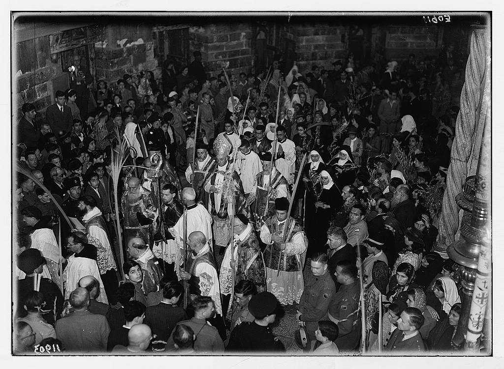 Calendar of religious ceremonies in Jer. [i.e., Jerusalem] Easter period, 1941. Palm Sunday procession round rotunda [Church of the Holy Sepulchre]