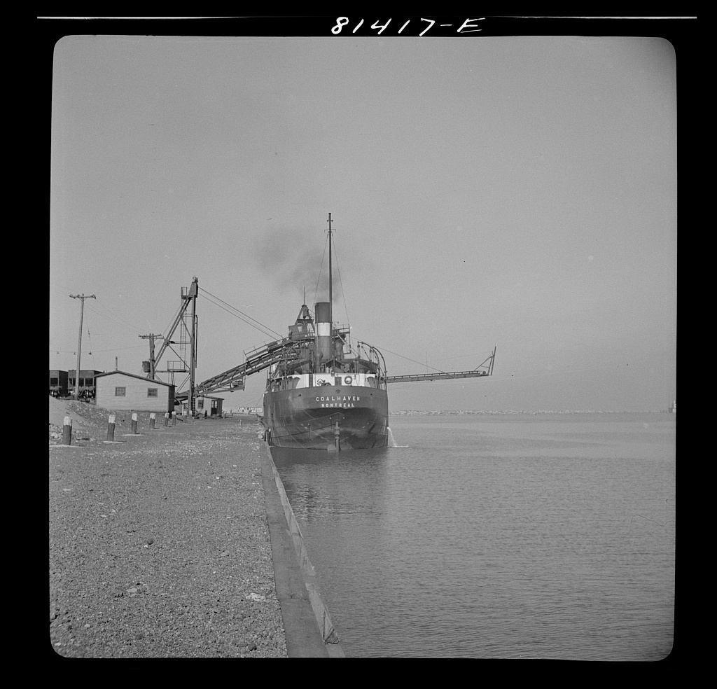 Canadian collier loading at port of Oswego, New York