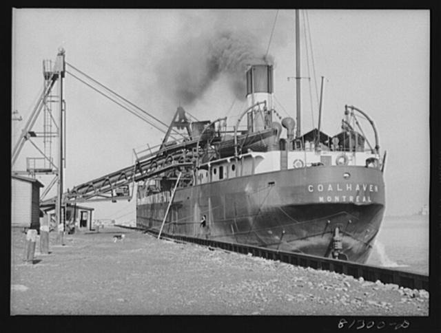 Canadian collier loading coal at Oswego, New York