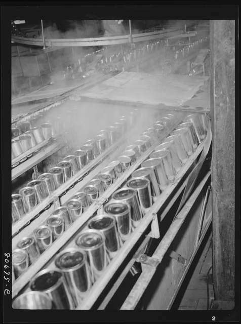 Cans are sterilized in steam before filling and sealing. Phillips Packing Company, Cambridge, Maryland