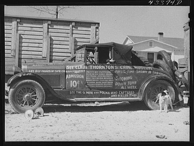 "Car advertising ""crime museum"" travelling sideshow near Fort Bragg, North Carolina"
