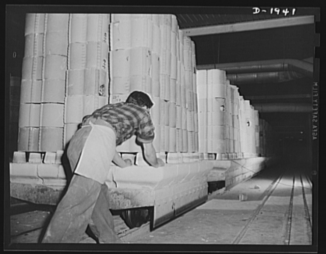 Car of ware placed in saggers ready to go into tunnel kiln. Shenango Pottery Works, Newcastle, Pennsylvania