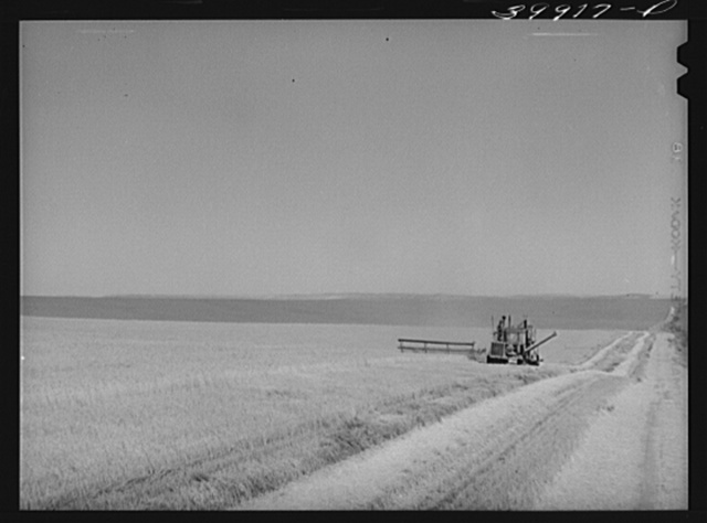Caterpillar-drawn combine in wheat field. Walla Walla County, Washington