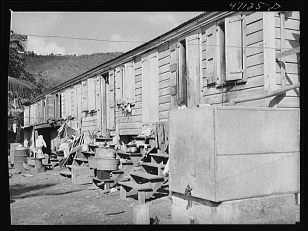 Charlotte Amalie, Saint Thomas Island, Virgin Islands. One of the long row of houses near the waterfront