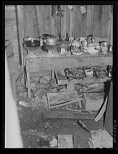 Charlotte Amalie, Saint Thomas Island, Virgin Islands. The kitchen in the home of a Negro worker in a slum section