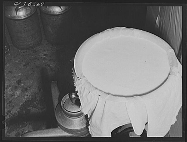 Cheese cloth strainer over milk cans on farm of member of the Dairymen's Cooperative Creamery. Caldwell, Canyon County, Idaho