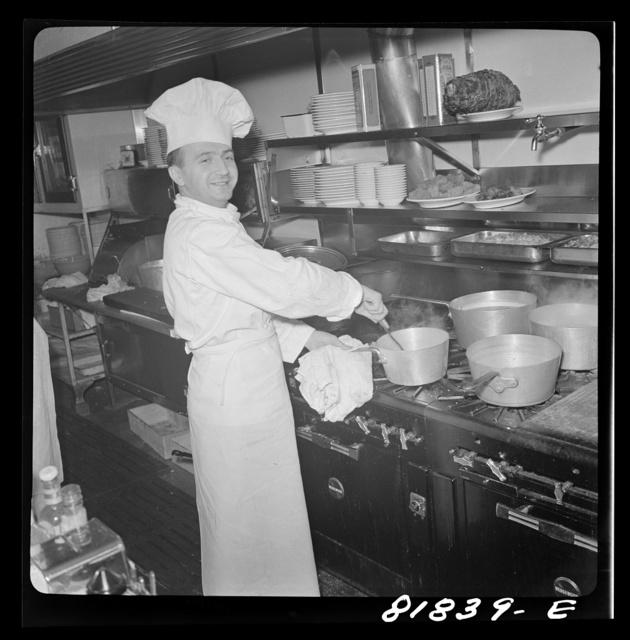 Chef in North Beach Italian restaurant. San Francisco, California