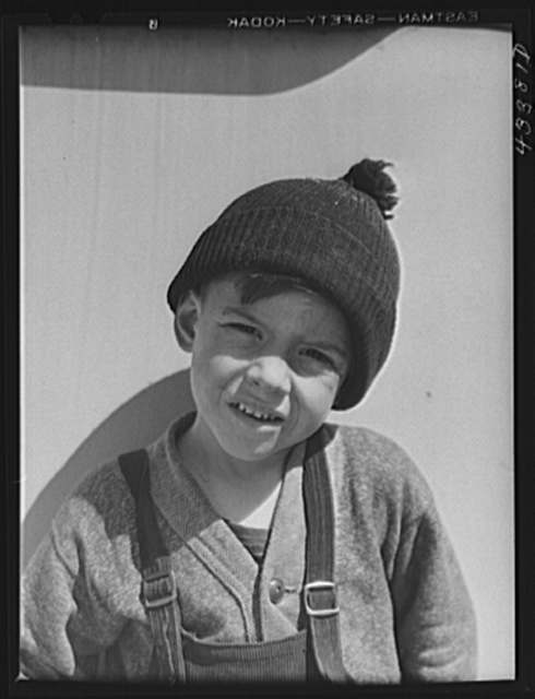 Child of a migratory construction worker living in a trailer settlement near Fort Bragg, North Carolina