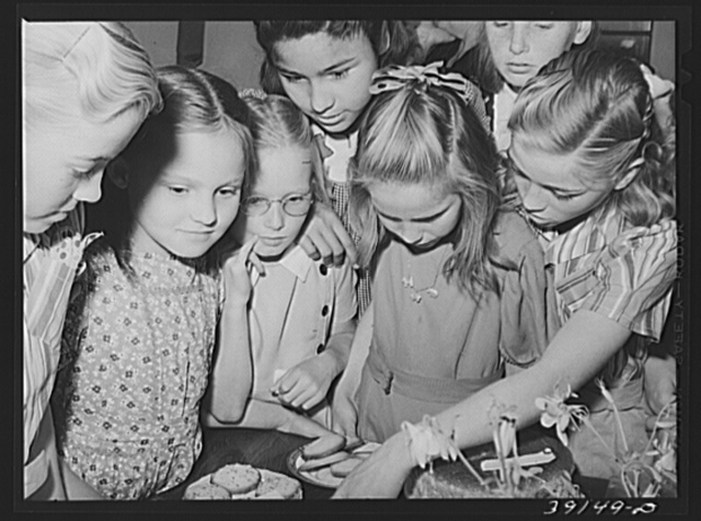 Children having refreshments at the 4-H Club Spring fair at Adrian, Oregon