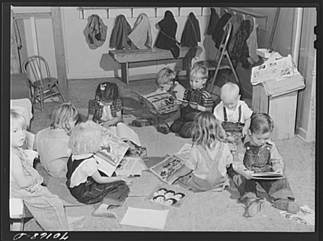 Children in the nursery school at the FSA (Farm Security Administration) farm family migratory labor camp. Yakima, Washington. Their parents were picking hops