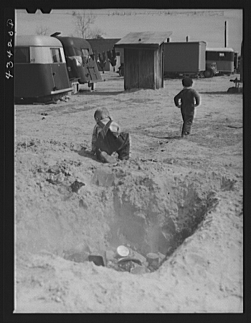 Children in trailer camp of construction workers from Fort Bragg. Near Fayetteville, North Carolina