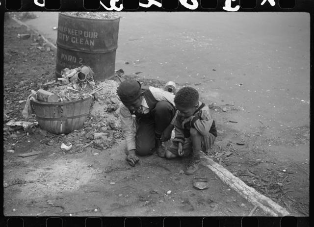 Children playing on the street, Black Belt, Chicago, Illinois