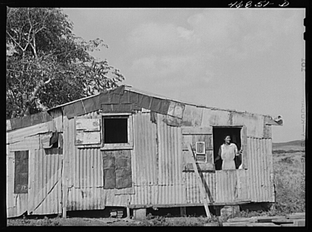 Christiansted, Saint Croix Island, Virgin Islands (vicinity). Farmhouse constructed with FSA (Farm Security Administration) aid by Puerto Rican farm family