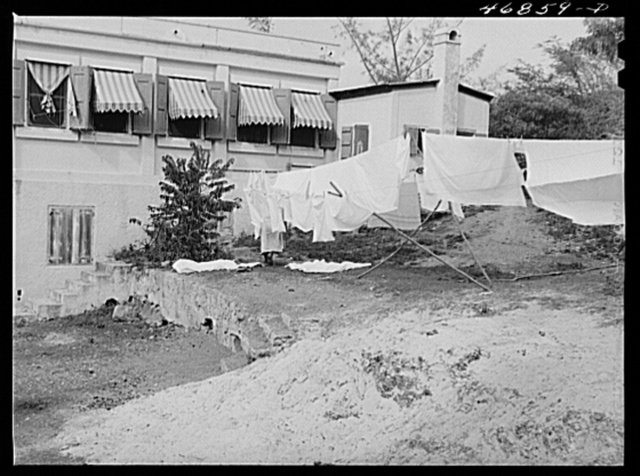 Christiansted, Saint Croix, Virgin Islands. Hospital linen on the clothes line at the Christiansted hospital