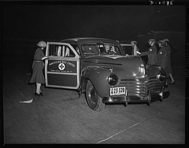 Civilian defense. There is a blood plasma unit of the New York Red Cross. Designed for civilian defense work in the event of disaster, this station wagon carries doctors and nurses to places where blood donors meet to offer their blood in cases of emergency