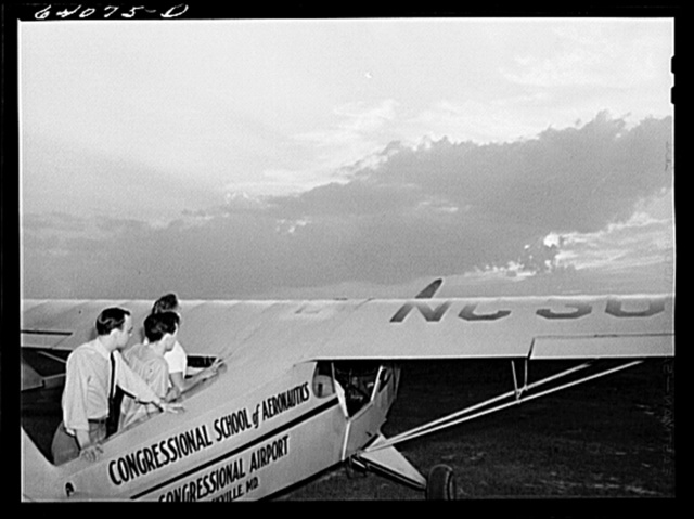 Civilian Pilot Training Program students at Congressional Airport. Rockville, Maryland