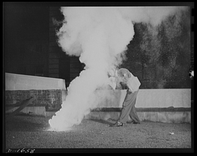 Civilian protection. An effective means of extinguishing a magnesium incendiary bomb is to come up over it with a sandbag protecting the face, then drop the sandbag squarely over the incendiary. The heat burns through the burlap, releasing the sand. The sand covers the entire bomb, checking off the air and extinguishing it
