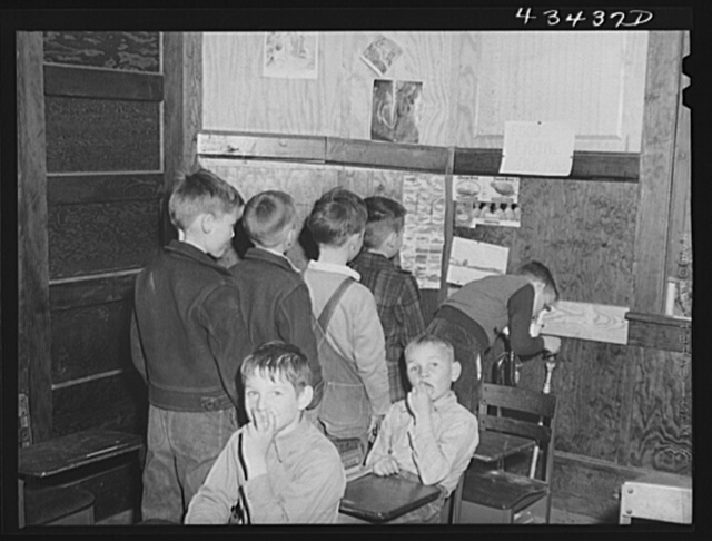 Classroom space was at a premium in the Fayetteville area, so this room was rented in a church to make room for additional children that came in as a result of the enlarging of Fort Bragg. Silver Lake, North Carolina