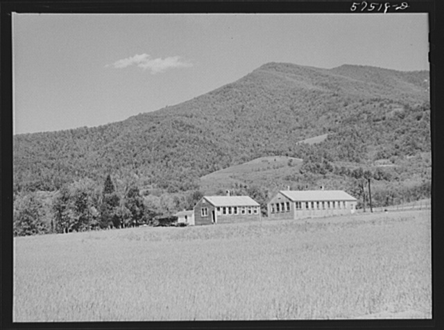 Community building being used as craft and woodworking shops on FSA (Farm Security Administration) project. Ida Valley Farms, Shenandoah Homesteads, near Luray, Virginia