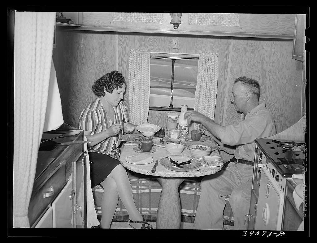Construction worker of Kearney-Mesa and his wife have lunch in their trailer home. San Diego, Calfornia