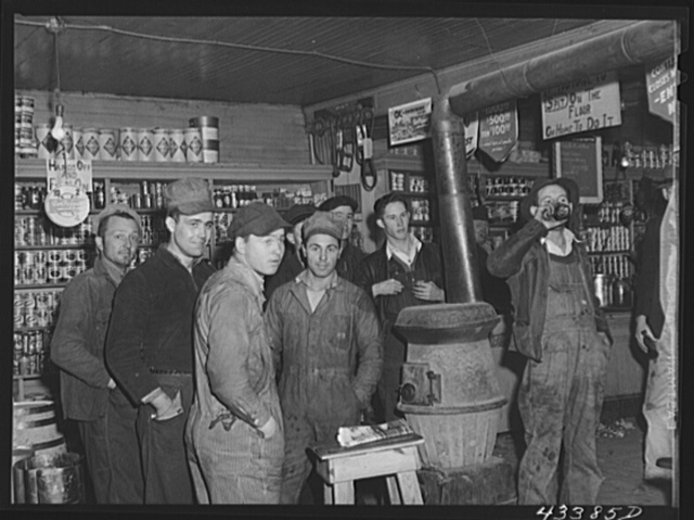 Construction workers from Fort Bragg in a general store in Manchester, North Carolina