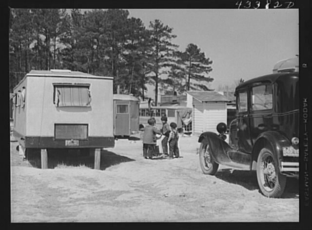 Construction workers' trailer camp near Fort Bragg, North Carolina