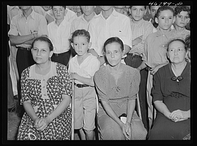 Corozal, Puerto Rico (vicinity). Farmers' wives and children listening to speeches at the tenant purchase celebration on a farm