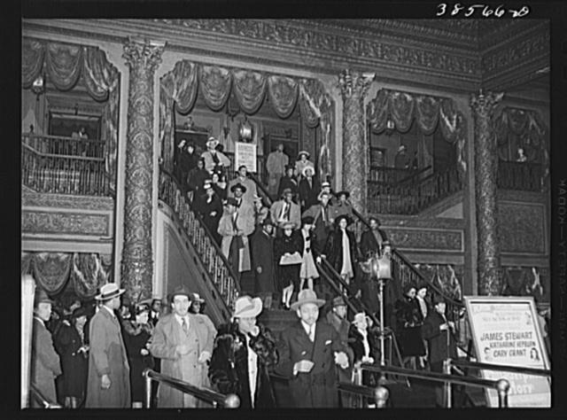 Crowd coming out of Regal movie theater. Southside of Chicago, Illinois